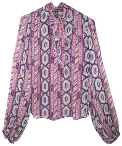 Winter Kate Sheer Printed Chiffon Vintage Silk Top