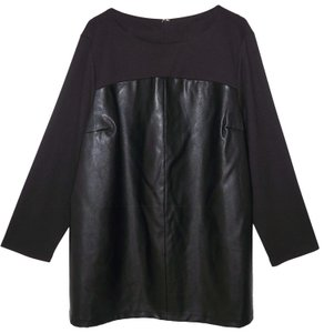 Dennis Basso Faux Leather Knit Tunic