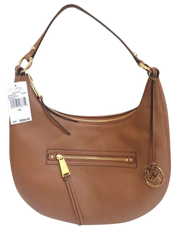 e92af5554817 Michael Kors Rhea Medium Zip Hobo Acorn Brown Leather Shoulder Bag ...