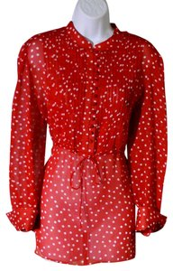 George W Longsleeve Owned Top Red With White Polka Dots Semi-Sheer