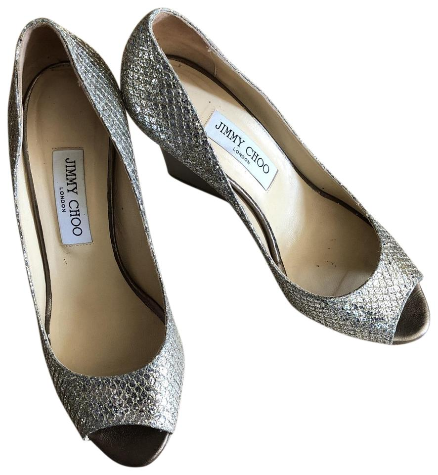 0a4b7a85467 Jimmy Choo Champagne Baxen Glitter Peep-toe Wedge Pumps Size US 8.5 ...