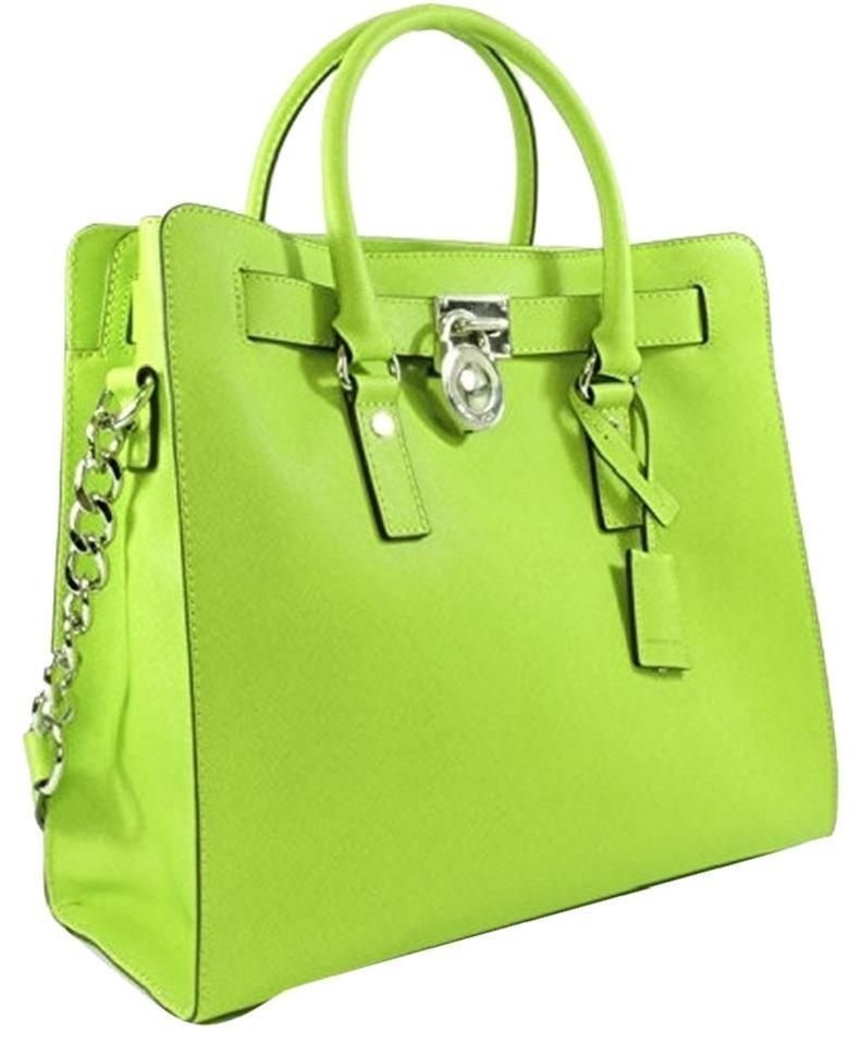 Michael Kors Silver Lime Neon North Bright Tote In Pear Green