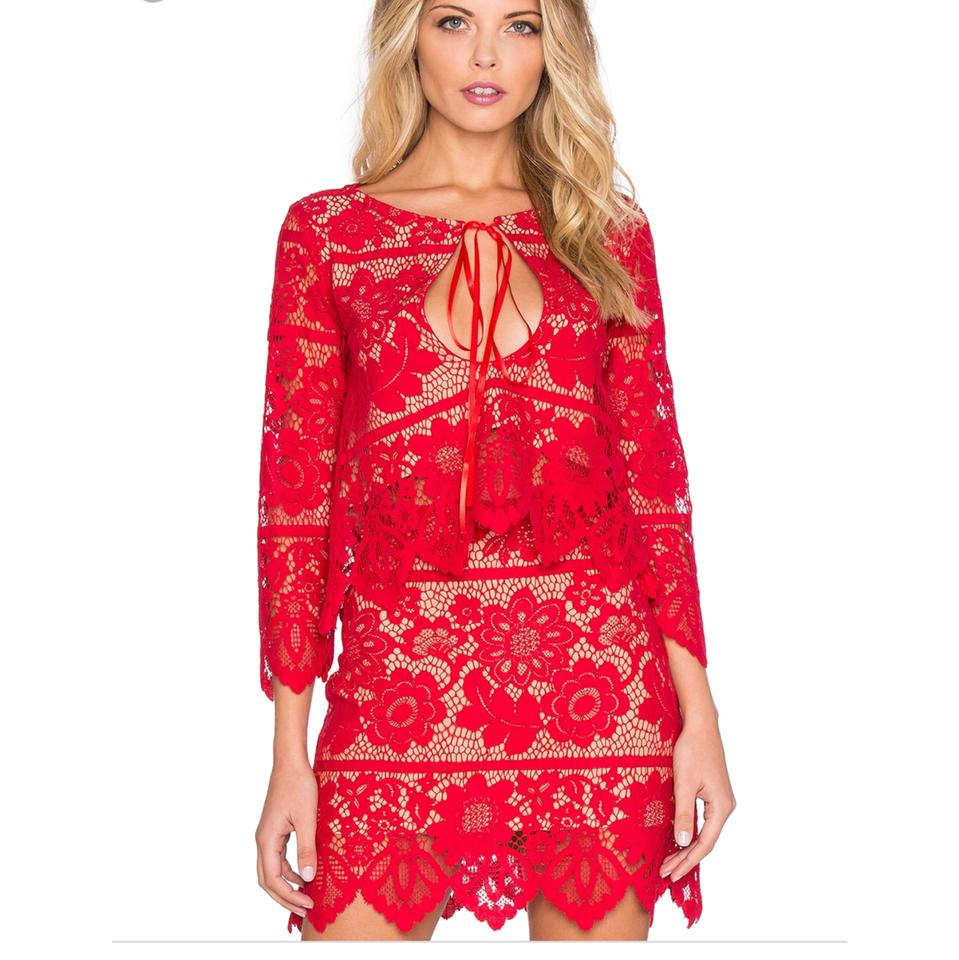 d250867e8f9 For Love   Lemons Red And Lace Top Only Mid-length Short Casual ...