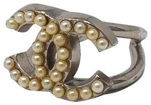Chanel Silver-tone Chanel peral embellished CC logo ring
