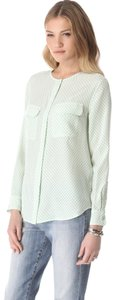 Equipment Button Down Shirt White and mint