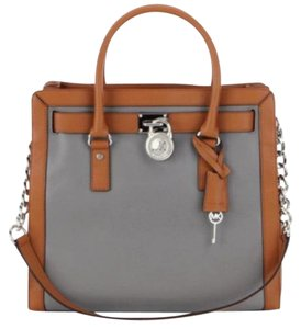 Michael Kors North Satchel Silver Luggage Soft Tote in Steel Grey and Acorn Light Brown