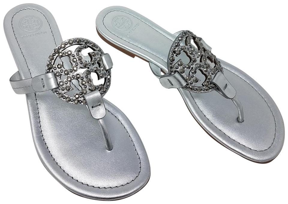 46603f1c14dcf1 Tory Burch Reva Embellished Metallic Hardware Silver Sandals Image 0 ...