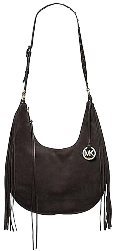 e4e43f42cf5a Michael Kors Rhea Large Hobo Fringe Coffee Dark Brown Suede Shoulder ...