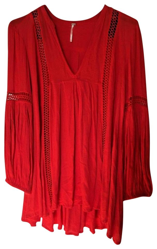 545a15fa785e Free People Red | Lace Inset Vneck Tunic/Dress Tunic Size 4 (S ...