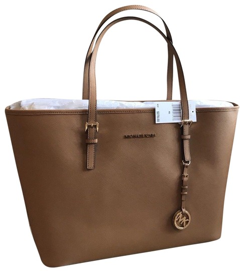 27556241eca4ce Michael Kors Large Unlined Beach Tan Luggage Tote in Acorn Light Brown  Image 0 ...