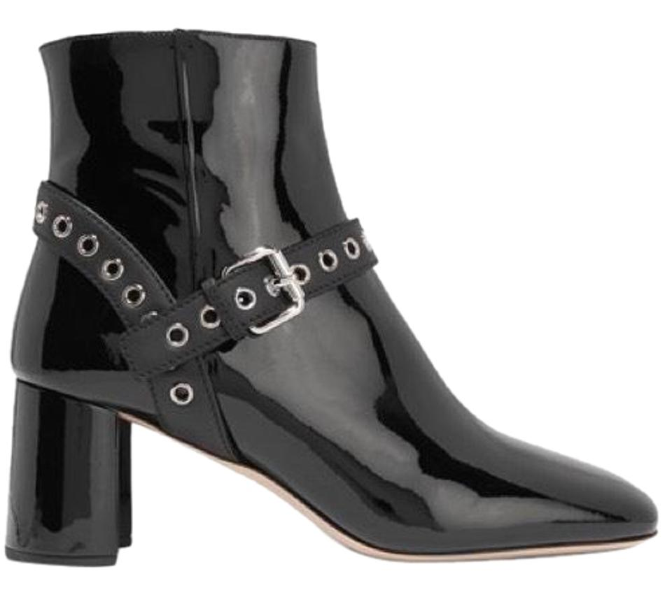 ab1812e0065c Miu Miu Black Eyelet-embellished Patent-leather Ankle Boots Booties ...