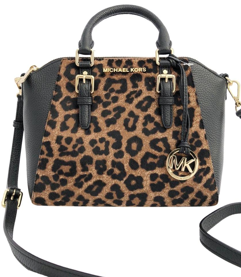 e4becb386215 Michael Kors Cross Body Small Fur Cheetah Hair Satchel in black and brown  Image 0 ...