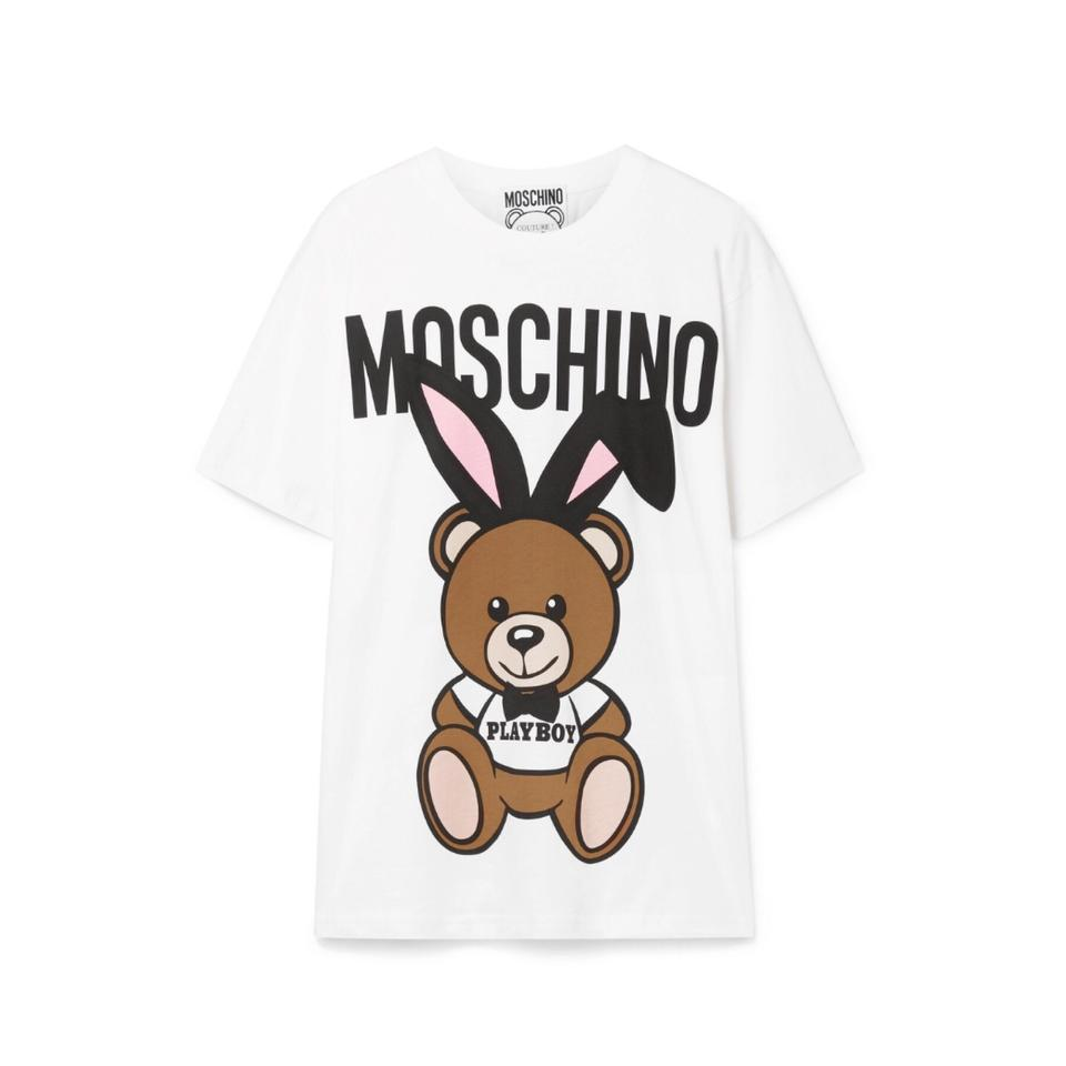 2589cf3861 Moschino Playboy Bunny Rabbit Teddy Bear Printed Tee Shirt Size 12 ...