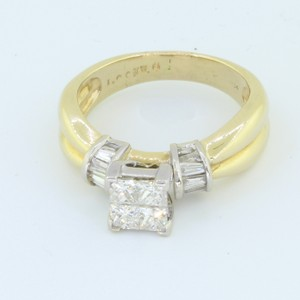 Yellow Gold 14k Solid Baguette Princess Cut 1.0 Ct Diamond Engagement Ring
