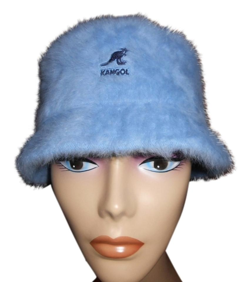 Kangol Blue Bucket Womens Angora Blend Fuzzy Furgora Bin Small Hat