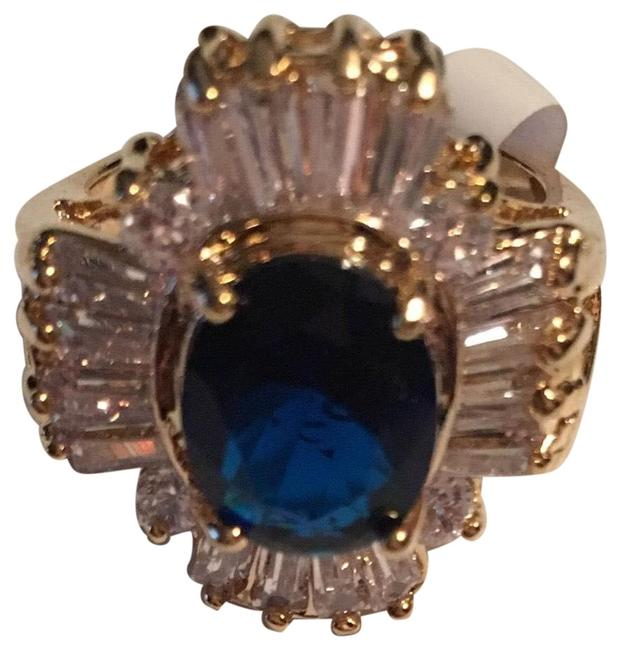 Item - Blue Stone / Baguette Ladies 14k Plated with Cz Ring