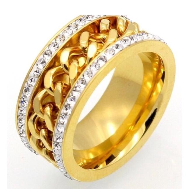 Item - 24k Stainless Steel 10mm Width Chain Shape For Women Color Fashion Ring
