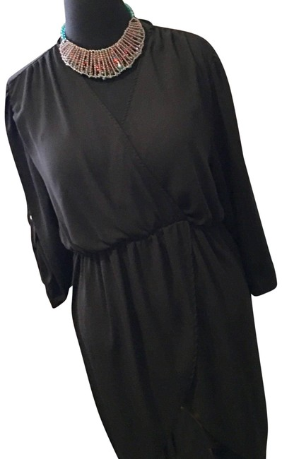 Item - Black Stylish High-low By Mid-length Short Casual Dress Size 16 (XL, Plus 0x)