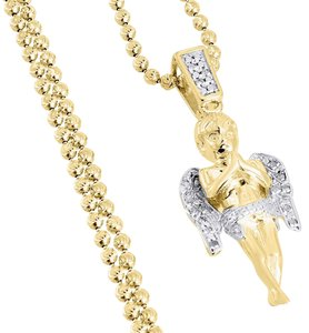 Jewelry For Less Angel Cherub Diamond Pendant .925 Charm 0.10 Tcw with Moon-cut Chain