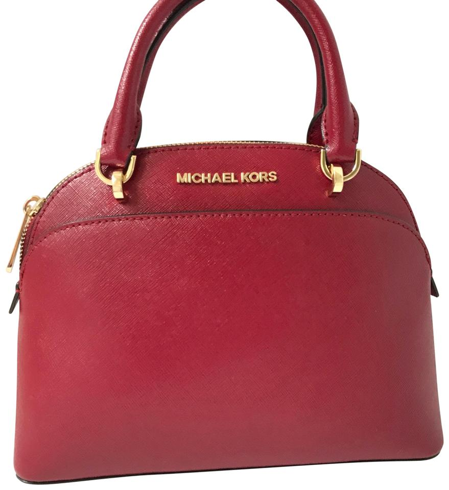 88ab4baf4e4a Michael Kors Emmy Small Dome Satchel Cherry Leather Cross Body Bag ...