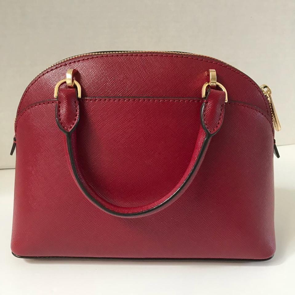 Michael Kors Emmy Small Dome Satchel Cherry Leather Cross Body Bag ... 4c2d2adc82792