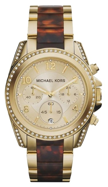 Item - Multicolor Blair Gold Tone and Tortoise Chronograph Mk6094 Watch