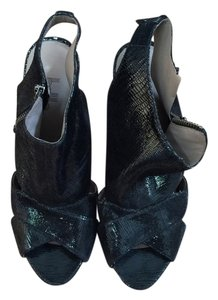 Belle by Sigerson Morrison Shiny Wedge Chunky Black Sandals