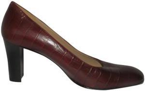 A. Giannetti Croc-like Padded Leather Itaian Burgundy Pumps