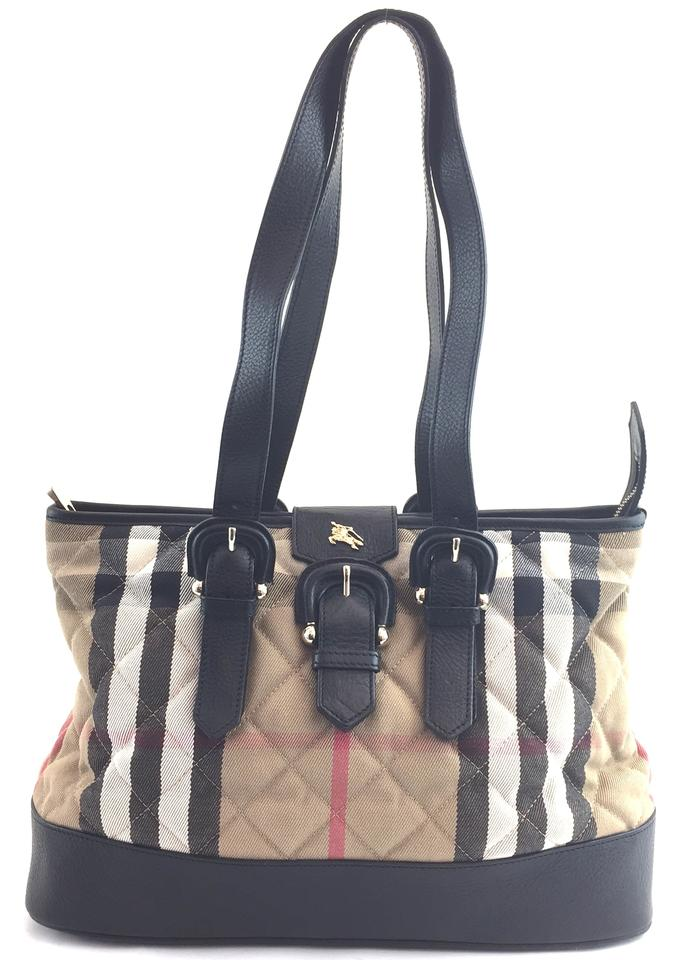 a1e5669f0c8 Burberry Quilted Classic Large Tote #10011 Check Pattern Canvas and Leather Shoulder  Bag