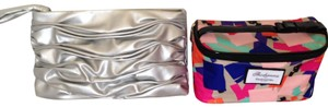 Elizabeth Arden (2) cosmetic bags; plastic lined; One silver, one multi-pastels