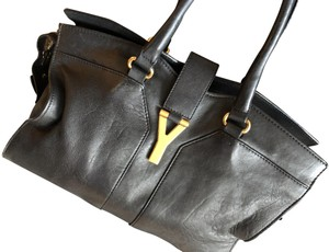 Saint Laurent Cabas Chyc Leather Ysl Tote in Black