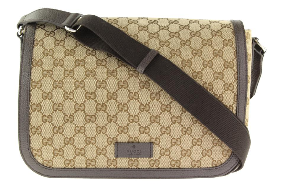 42ca97273a5 Gucci Large Flap Beige and Brown Gg Canvas Messenger Bag - Tradesy