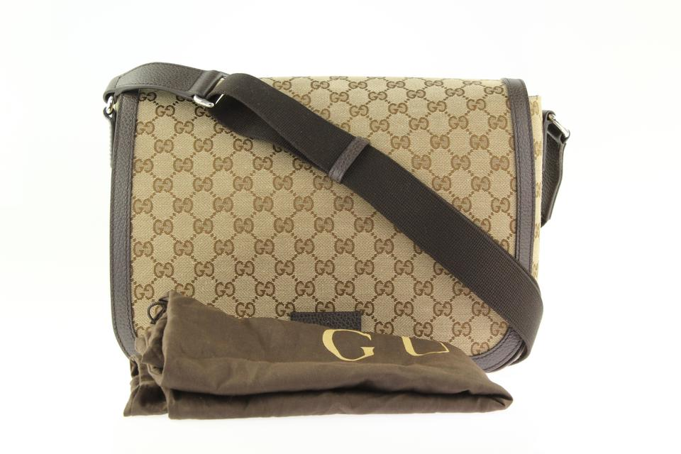 3bd61583cab Gucci Canvas Large Beige and Brown GG Messenger Bag Image 11.  123456789101112