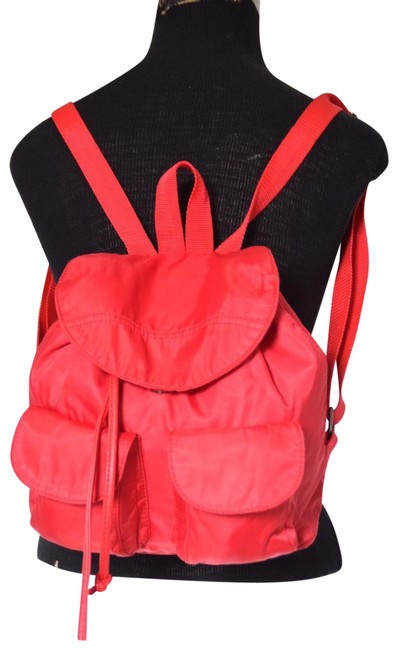 Item - Drawstring Red Nylon Faux Leather Backpack