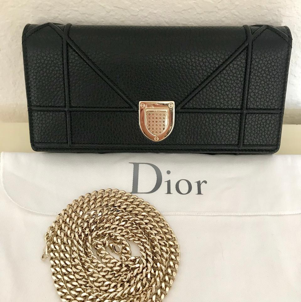 b4ee4ca8391 Dior Diorama Leather Croisiere Woc Black Grained Calfskin Clutch ...