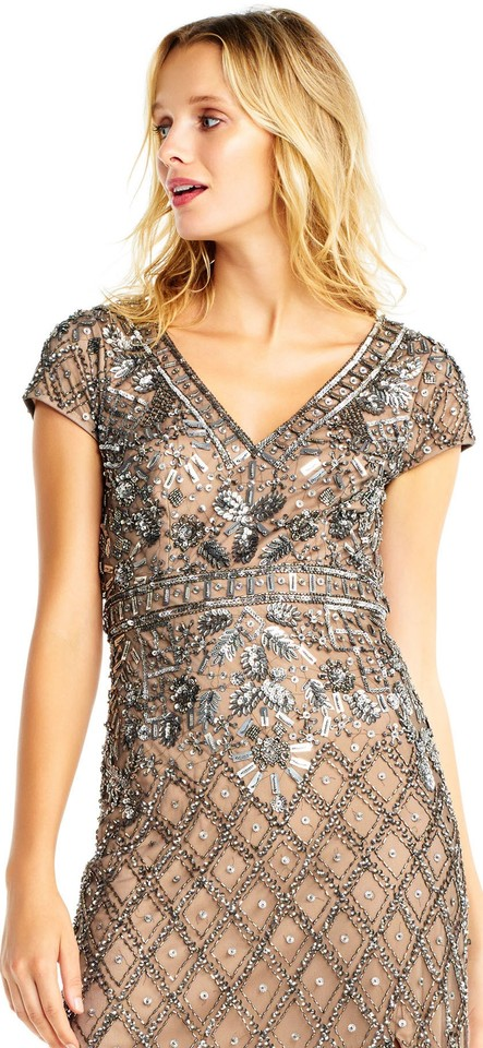 Adrianna Papell Lead/Nude Diamond Beaded Gown with Short Sleeve & V ...