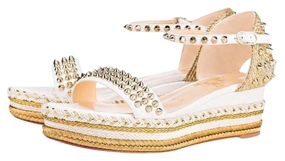 Christian Louboutin White Espadrille Madmonica Latte Gold Spike Espadrille White Sandals 99efc5