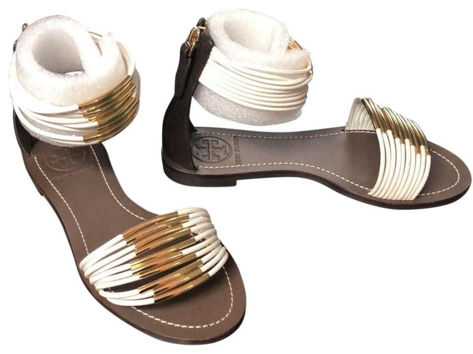 e689a72920d Tory Burch Ivory with Gold Detail and Coconut Leather Mignon Rings Flat  Isabel Nappa Sandals. Size  US 5 Regular (M ...