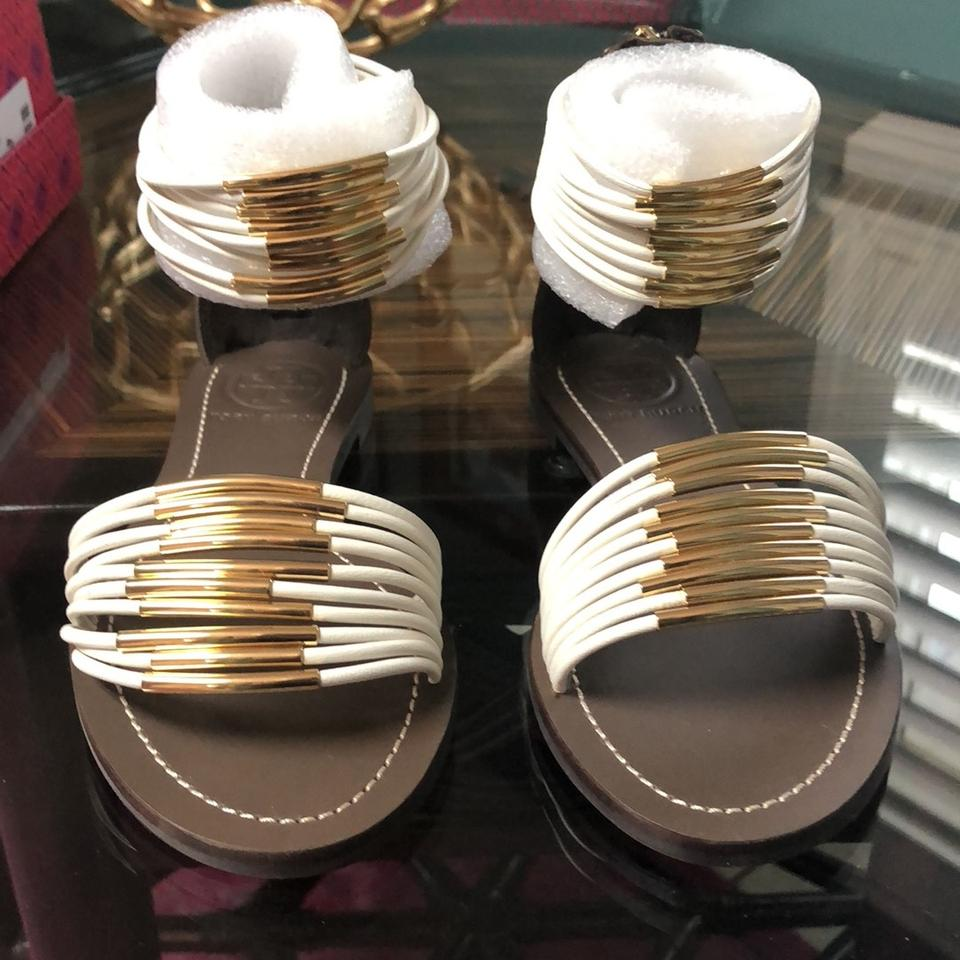 fcca9dc4609 Tory Burch Ivory with Gold Detail and Coconut Leather Mignon Rings Flat  Isabel Nappa Sandals Size US 5 Regular (M