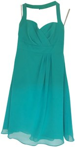 Alfred Angelo Chiffon Sweetheart Neckline Cocktail Length A-line Halter Straps Dress