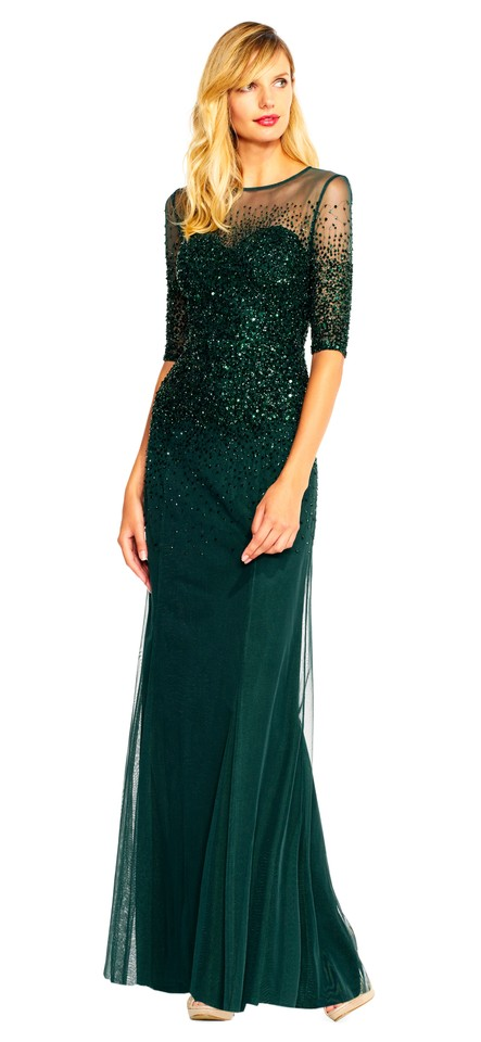 Adrianna Papell Dusty Emerald Beaded Illusion Gown Long Formal Dress ...