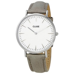 Cluse CL18215 Women's Grey Leather Band With White Analog Dial