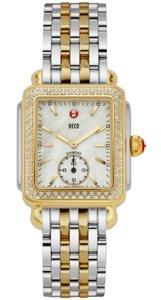 Michele NEW Deco Mid 16 Diamond Dial Two Tone Gold MWW06V000023 Watch