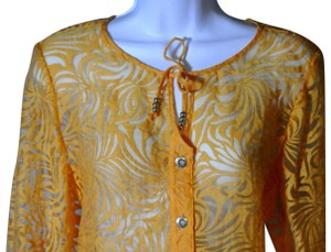 Hearts of Palm Burn Out 5 Buttun Front Tab Sleeves Top Orange