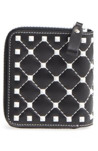 Valentino NEW Valentino French Matelasse Rockstud Leather Wallet Black White
