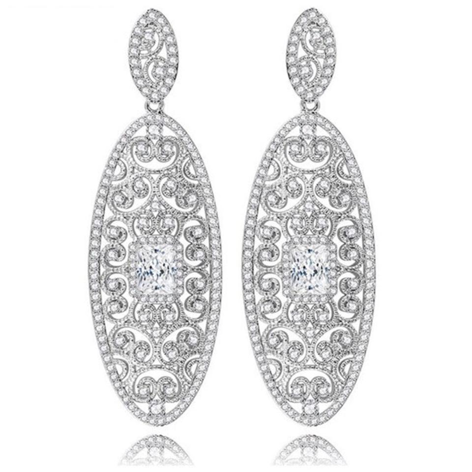 Other Swarovski Crystals Long Oval Earrings