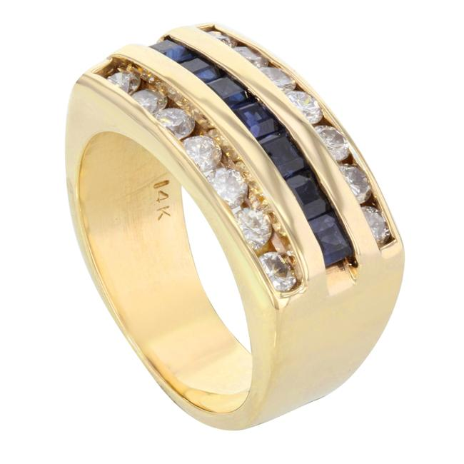 Item - Blue Diamond and Sapphire Right Hand Yellow Gold (14572) Ring