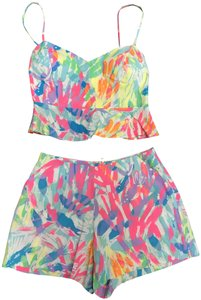 Lilly Pulitzer Two Piece Set Crop Top Mini/Short Shorts Multi