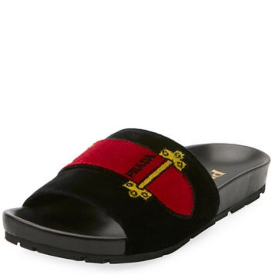 d90af2d501f7 Prada Black Velvet Pool Slide Sandals Size EU 38 (Approx. US 8) Regular (M