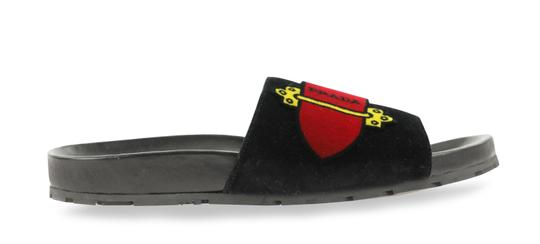 Prada Velvet Pool Slides Slides Slides Black Sandals Image 0